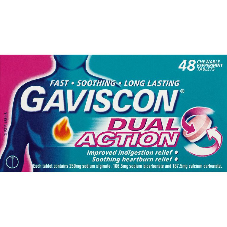Gaviscon Dual Action Antacid Tablets 48s, , hi-res