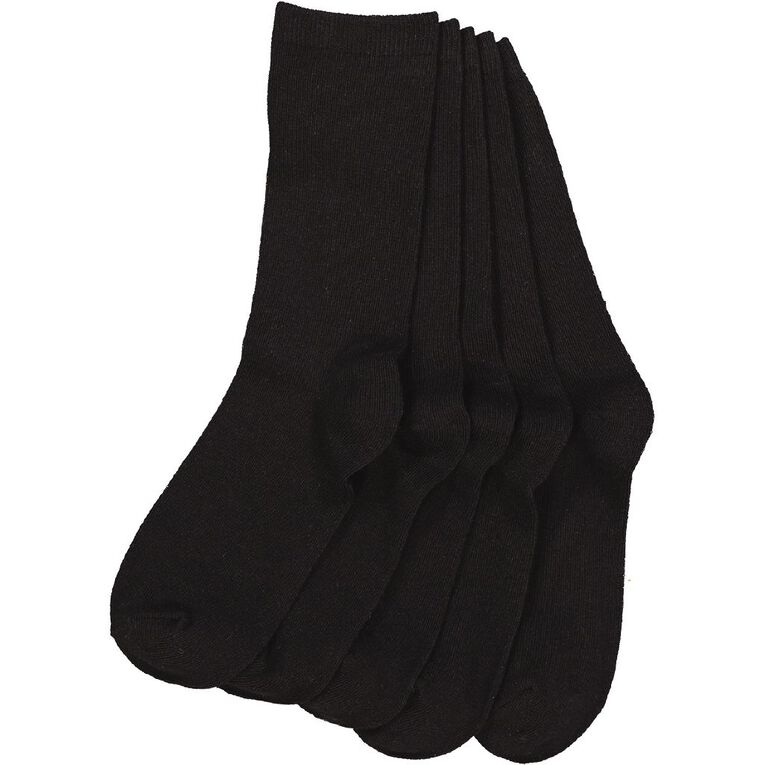 H&H Essential Plain Crew Socks 5 Pack, Black, hi-res