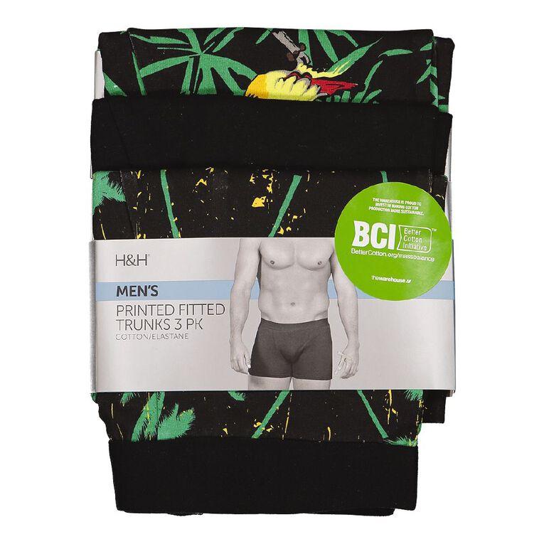 H&H Men's Printed Trunks 3 Pack, Green/Black, hi-res