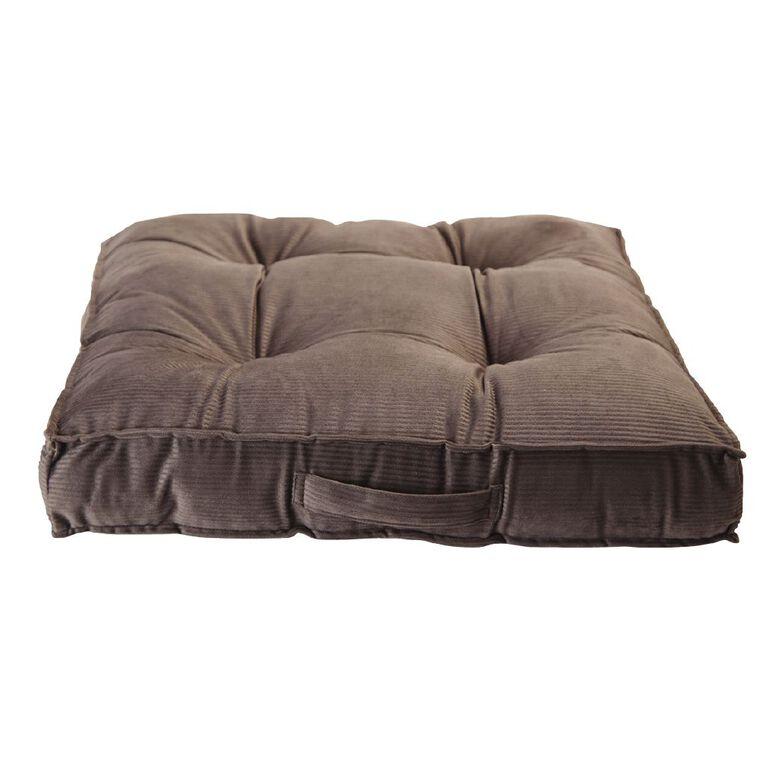 Living & Co Velvet Stripe Floor Cushion Charcoal 60cm x 60cm, Charcoal, hi-res
