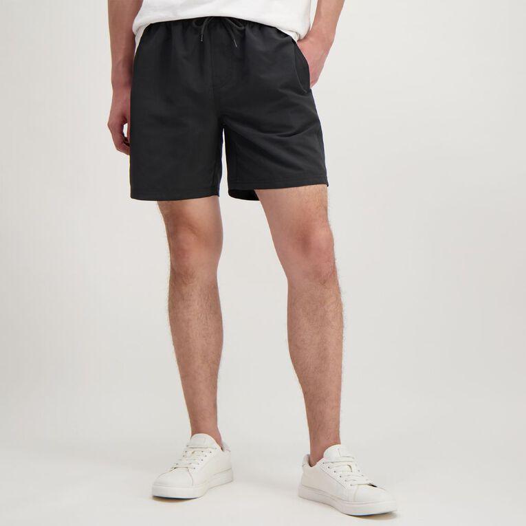 H&H Men's Plain Microfibre Board Shorts, Black, hi-res
