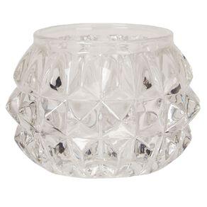 Living & Co Tealight Holder Glass Diamond Clear