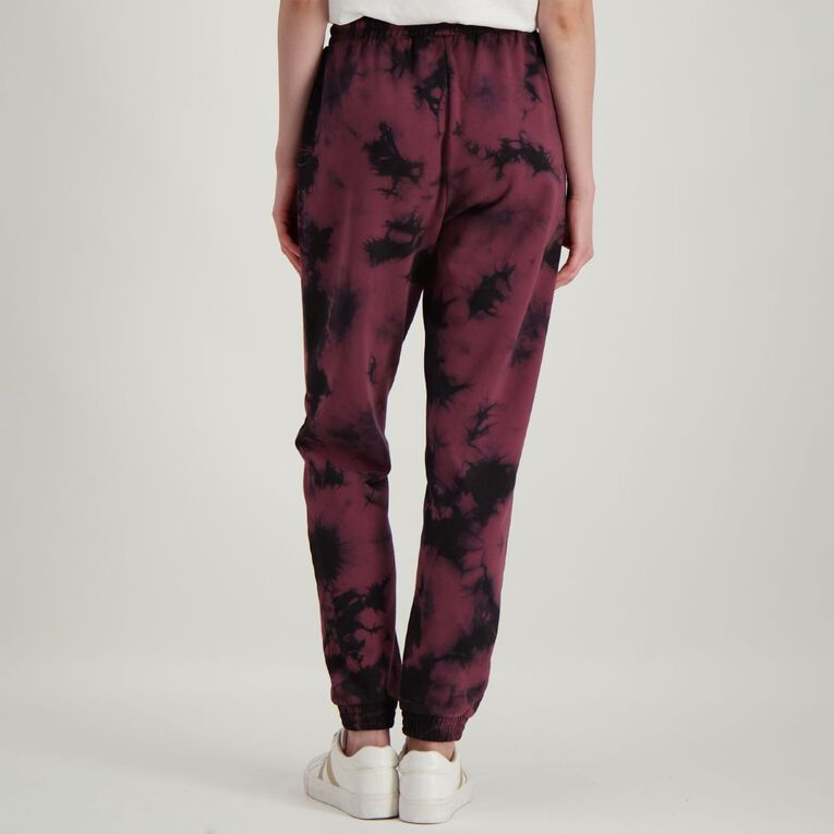 H&H Women's Tie Dye Trackpants, Burgundy, hi-res
