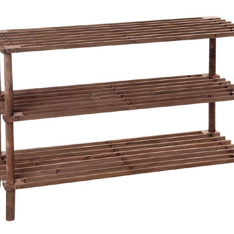 Living & Co Wooden Shoe Rack 3 Tier Brown, , hi-res