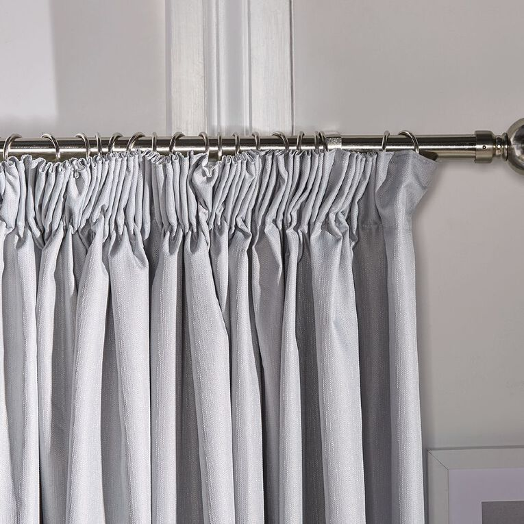 Living & Co Metro Curtains Grey 230-330cm Wide/205cm Drop, Grey, hi-res