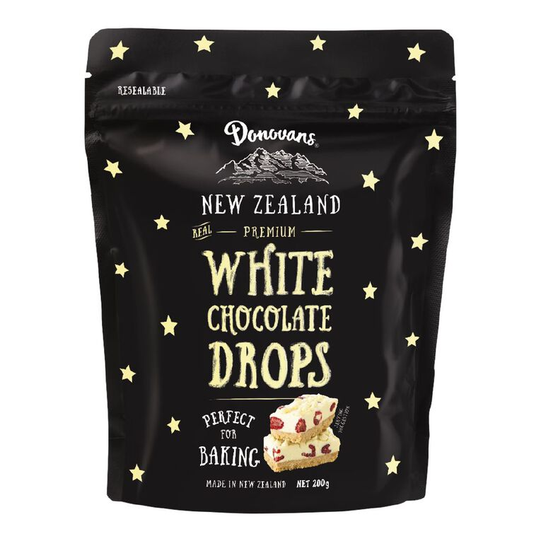 Donovans Chocolate Drops White 200g, , hi-res