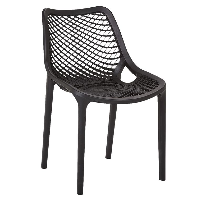 Living & Co Resin Vento Dining Chair Black, , hi-res