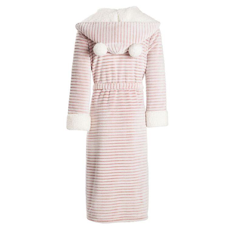 H&H Women's Hooded Stripe Robe, Pink, hi-res