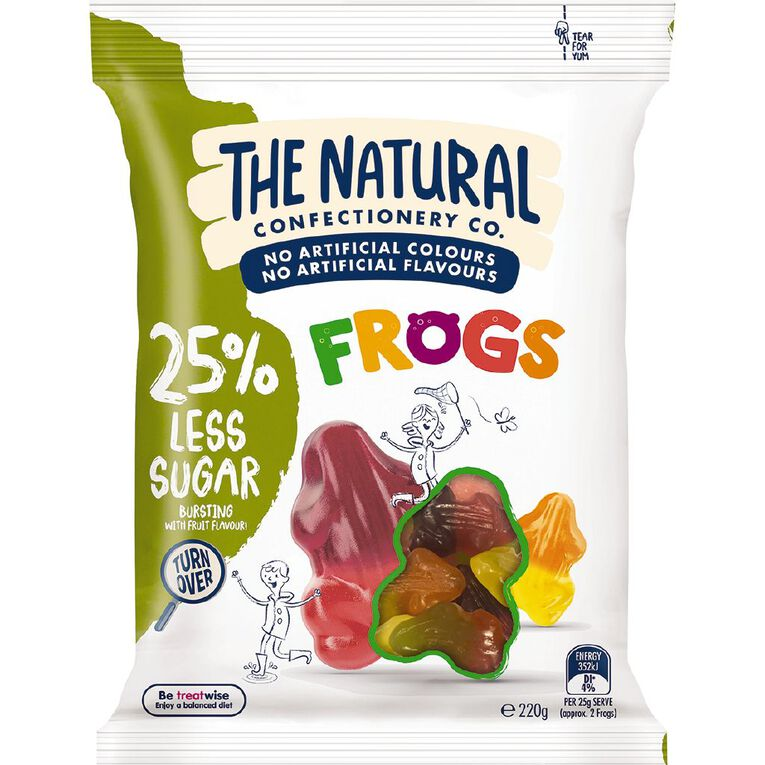 The Natural Confectionery Co. Frogs Reduced Sugar 220g, , hi-res