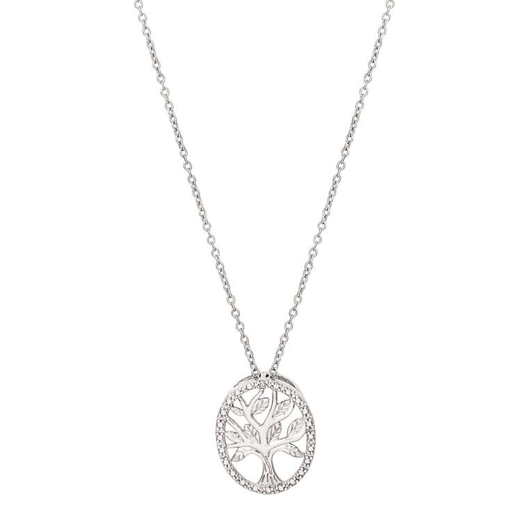 0.01 Carat Diamond Sterling Silver Tree Of Life Necklace, Sterling Silver, hi-res
