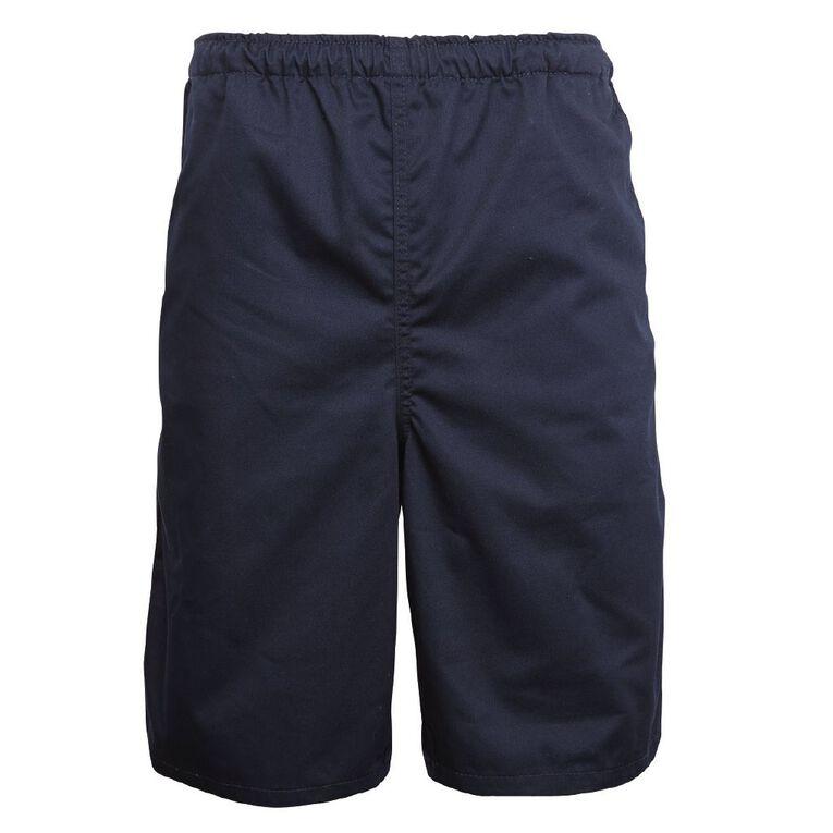 Schooltex Adults' Drill Long Leg Rugger Shorts, Navy, hi-res