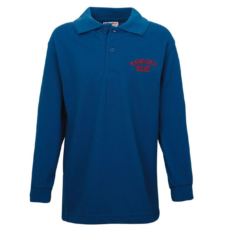 Schooltex Rangiora New Life Long Sleeve Polo with Embroidery, Royal, hi-res