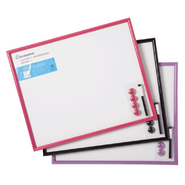 Deskwise Magnetic Whiteboard 440mm x 540mm Assorted, , hi-res