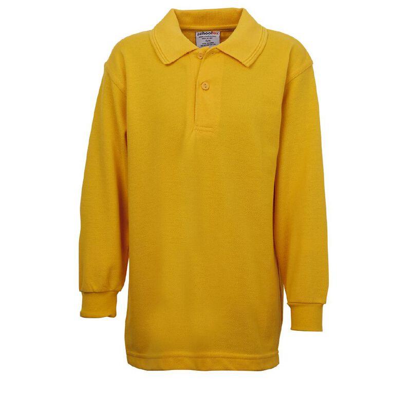 Schooltex Kids' Long Sleeve Polo, Gold, hi-res