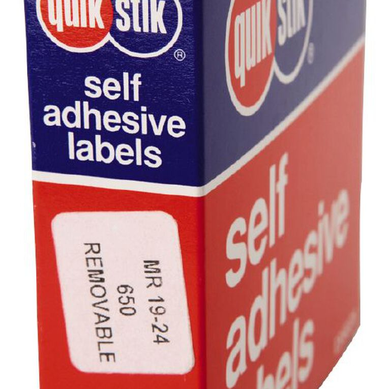 Quik Stik Labels Mr1924 19mm x 24mm 650 Pack White, , hi-res