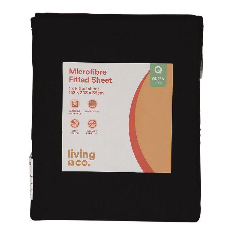 Living & Co Sheet Fitted Microfibre Black Queen, Black, hi-res