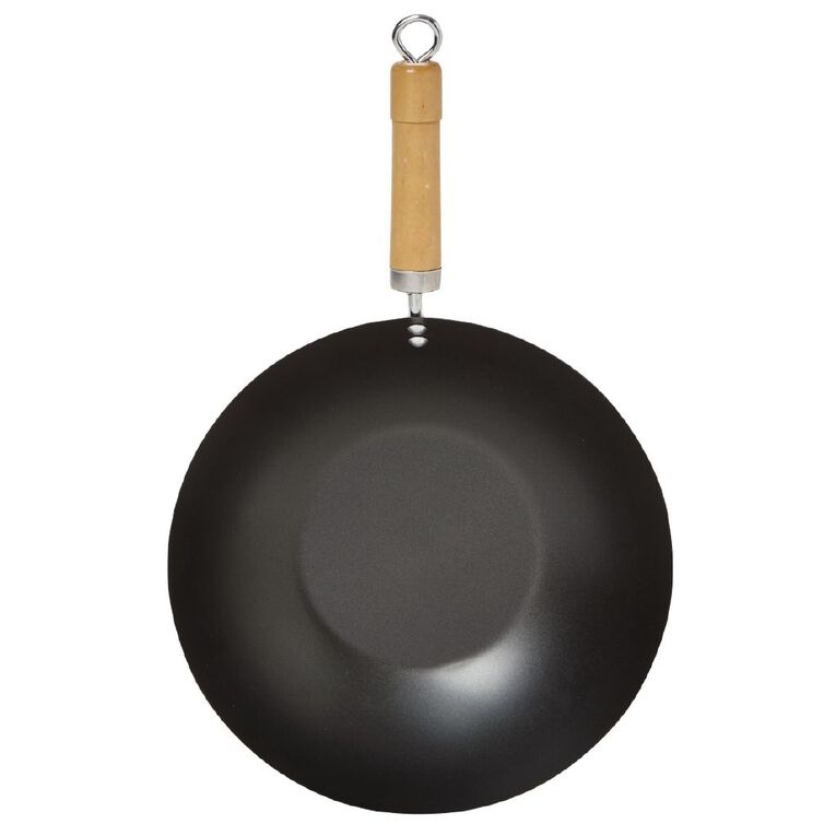 Living & Co Essentials Non Stick Wok Black 30cm, , hi-res
