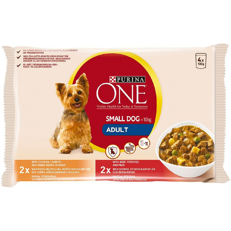 Purina ONE Dog Small/Mini Adult Chicken & Beef Multipack (4x100g), , hi-res