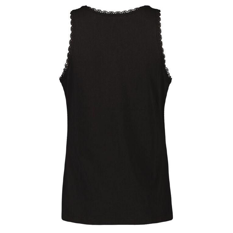 H&H Women's V Neck Lace Sleep Singlet, Black, hi-res