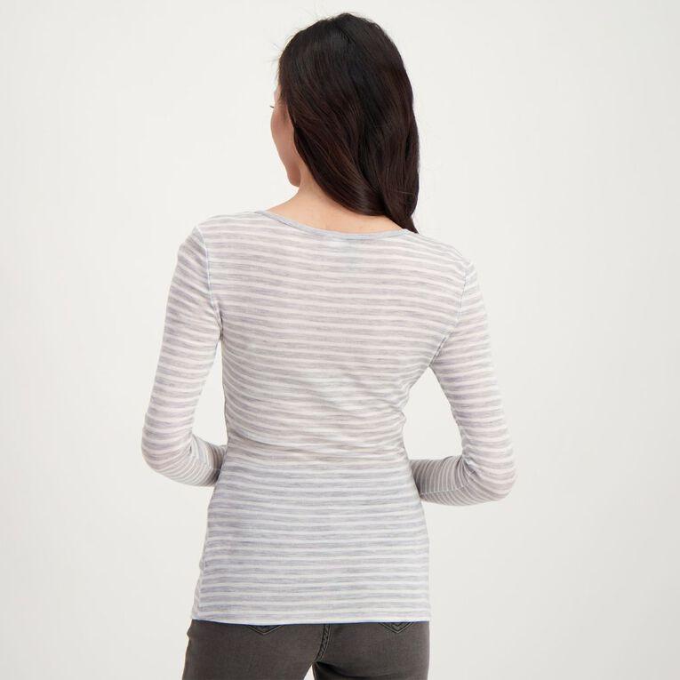 H&H Women's Merino Stripe Crew, Grey/White, hi-res