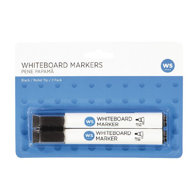 WS Whiteboard Markers Bullet 2 Pack Black, , hi-res
