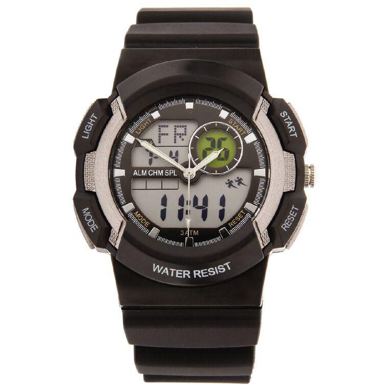 Active Intent Men's Sports Digital Watch Black Grey, , hi-res