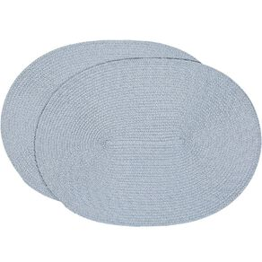 Living & Co Woven Placemat Oval Blue 39.5cm x 29.5cm 2 Pack