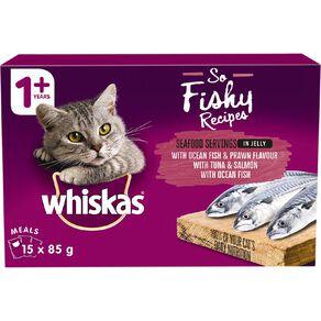 Whiskas So Fishy Recipes Ocean Fish&Prawn Tuna&Salman Ocean Fish I5x85g