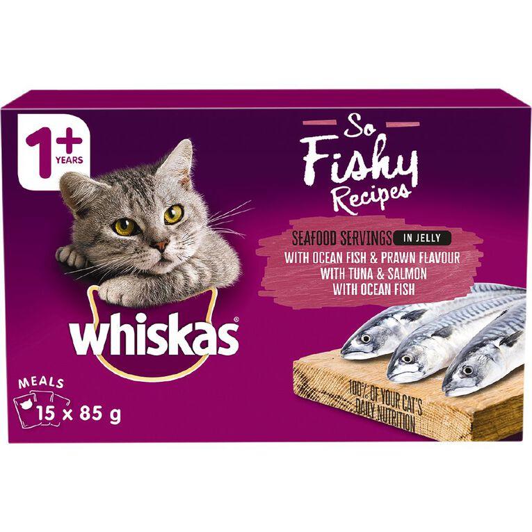Whiskas So Fishy Recipes Ocean Fish&Prawn Tuna&Salman Ocean Fish I5x85g, , hi-res