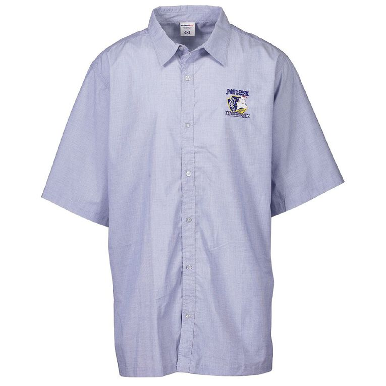 Schooltex James Cook Short Sleeve Shirt with Embroidery, Sky Blue, hi-res