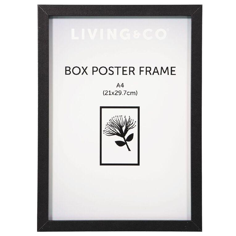 Living & Co Box Poster Frame Black A4, Black, hi-res