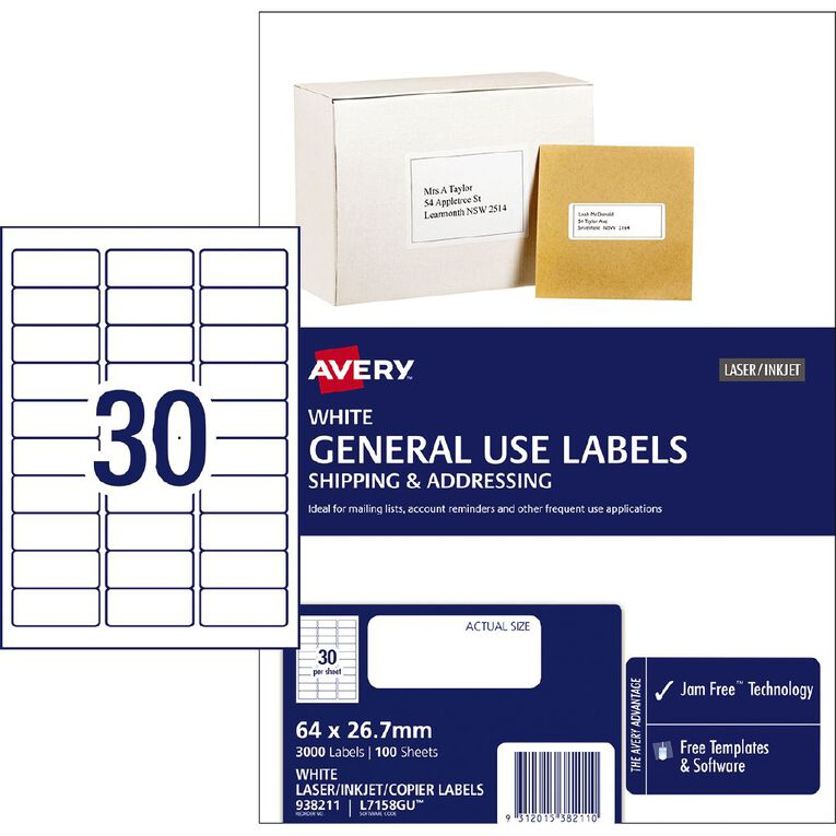 Avery General Use Labels White 3000 Labels, , hi-res