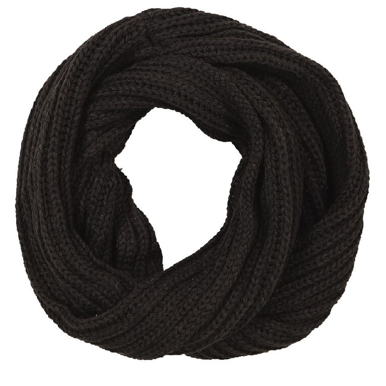 H&H Women's Chunky Rib Snood, Black, hi-res