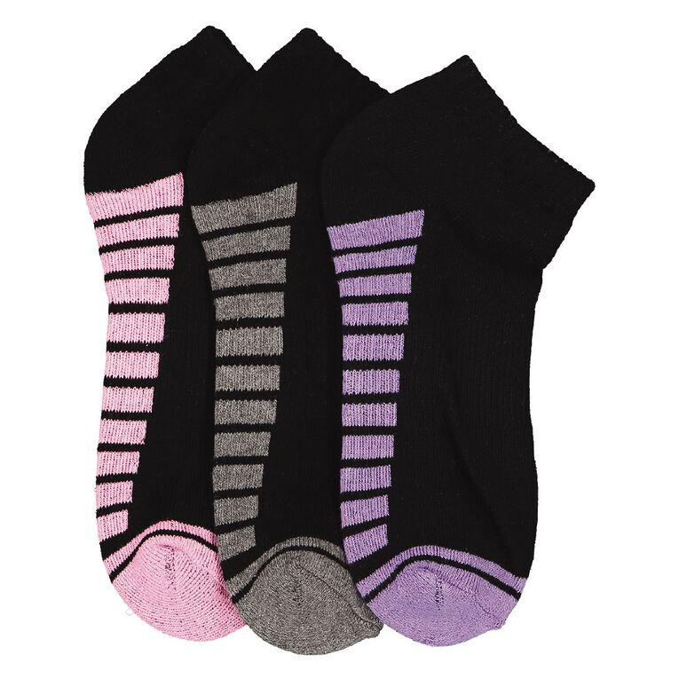 Underworks Kids' Low Cut Sport Socks 3 Pack, Black, hi-res