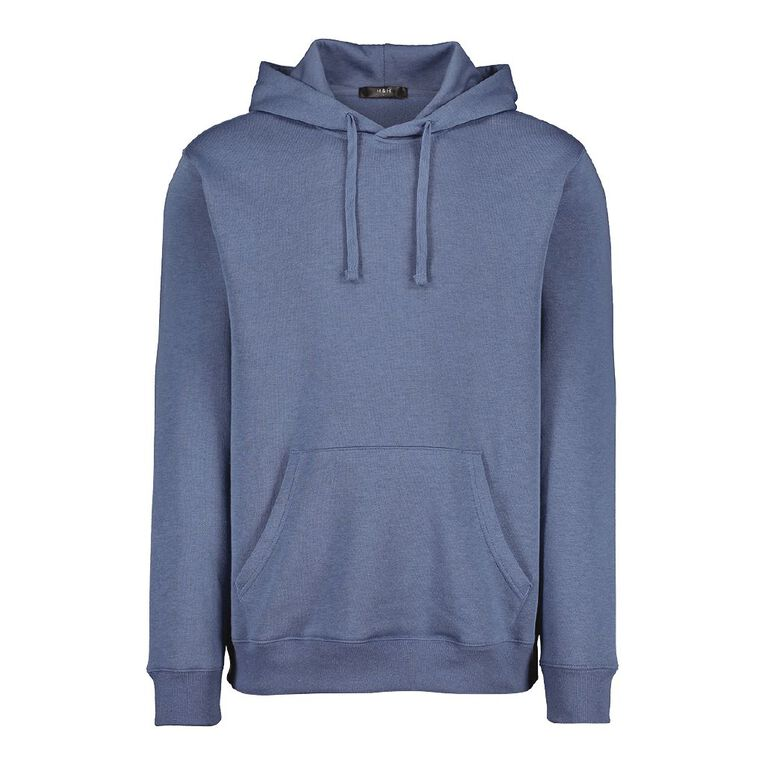 H&H Men's Plain Hooded Sweatshirt, Blue, hi-res