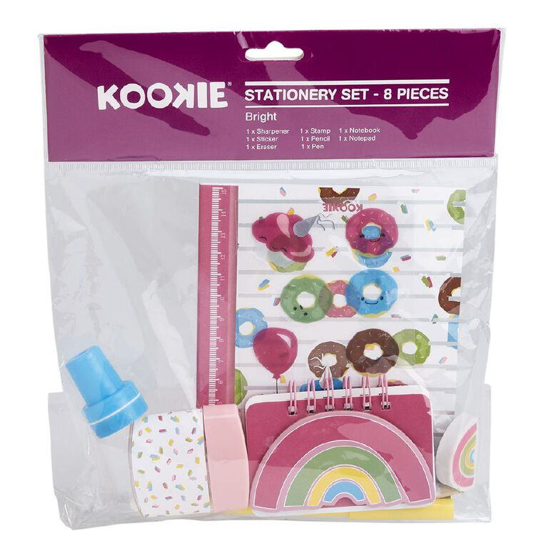 Kookie Bright Stationery Set Pink, , hi-res