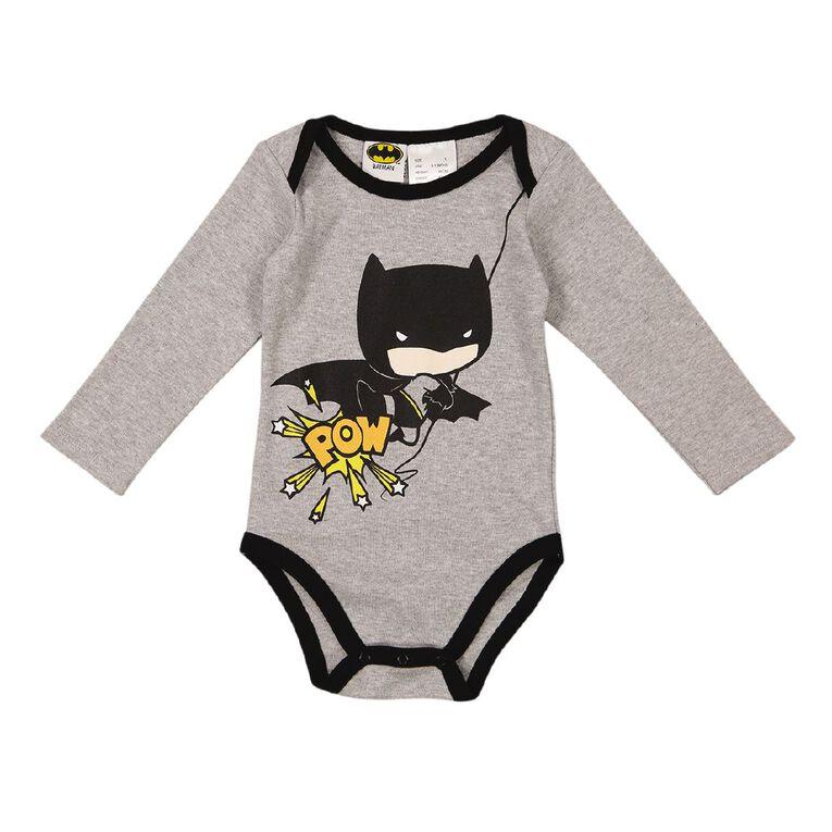 Batman Long Sleeve Printed Bodysuit, Grey Mid, hi-res