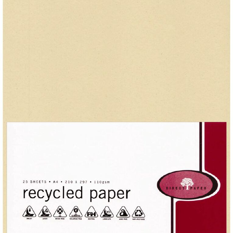 Direct Paper Recycled Paper 110gsm 25 Pack Sand A4, , hi-res