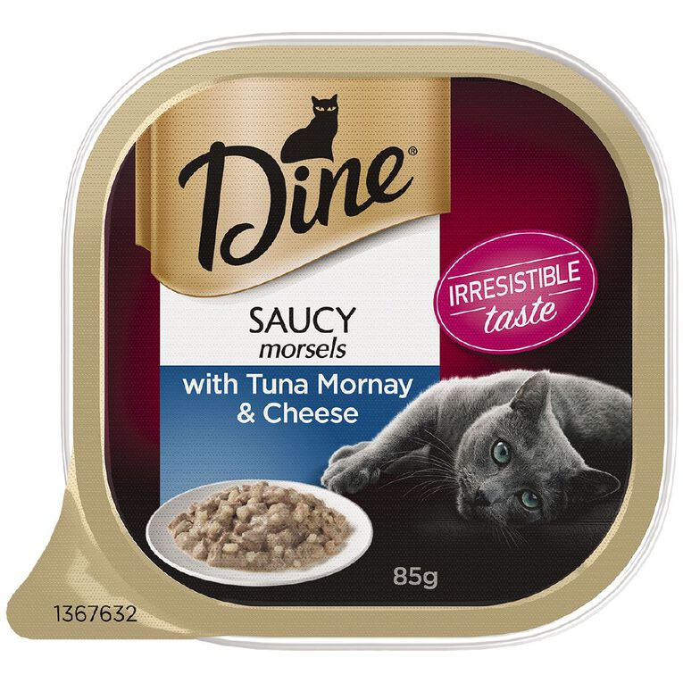 Dine Wet Cat Food Saucy Morsels With Tuna Mornay & Cheese 85g Tray, , hi-res