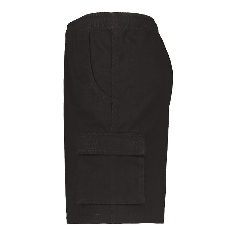 Rivet Bellow Pocket Shorts, Black, hi-res