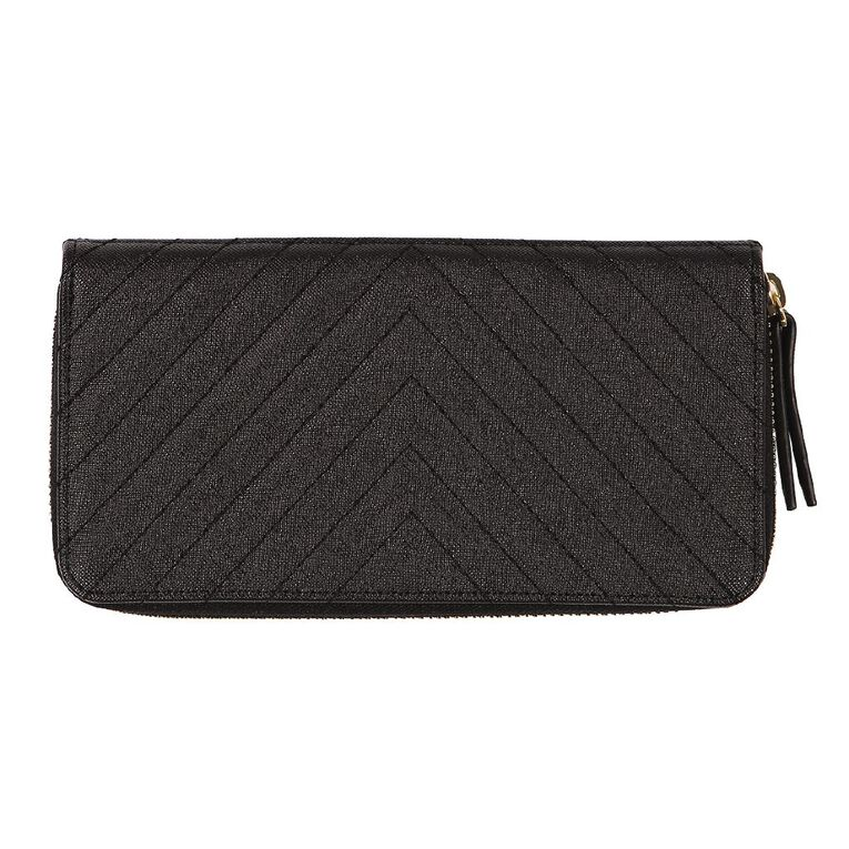H&H Diagonal Quilted Purse, Black, hi-res image number null