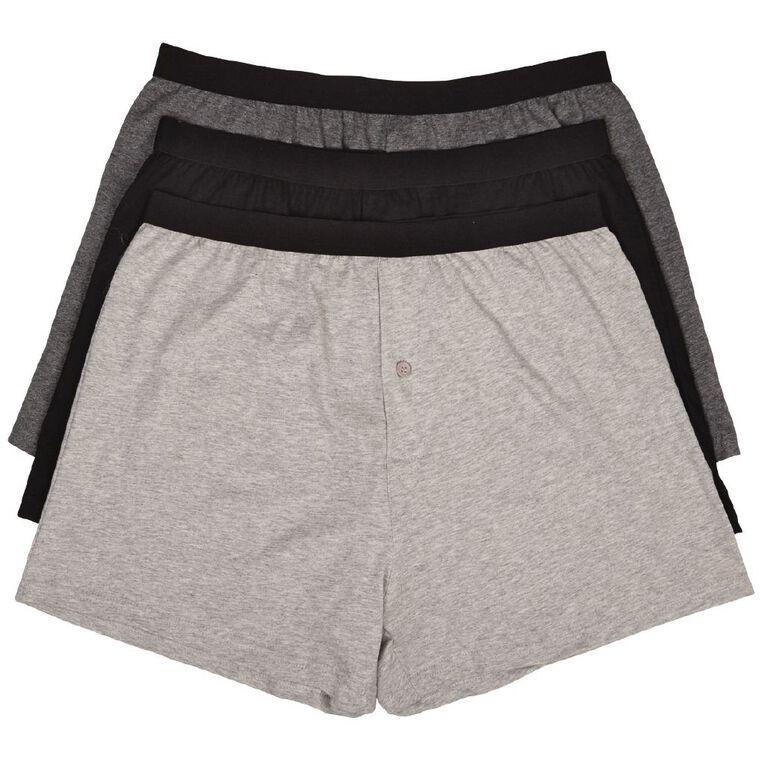 H&H Men's Loose Knit Boxers 3 Pack, Grey, hi-res