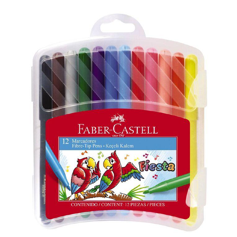 Faber-Castell Fiesta Fibre-tip Pens Plastic Case of 12, , hi-res