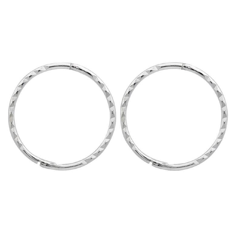 Sterling Silver Diamond Cut Sleeper Earrings 16mm, , hi-res