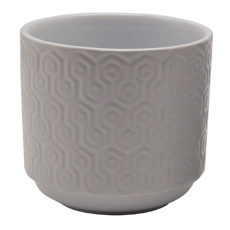 Kiwi Garden Ceramic Hex Textured Pot 11.5cm White, , hi-res image number null