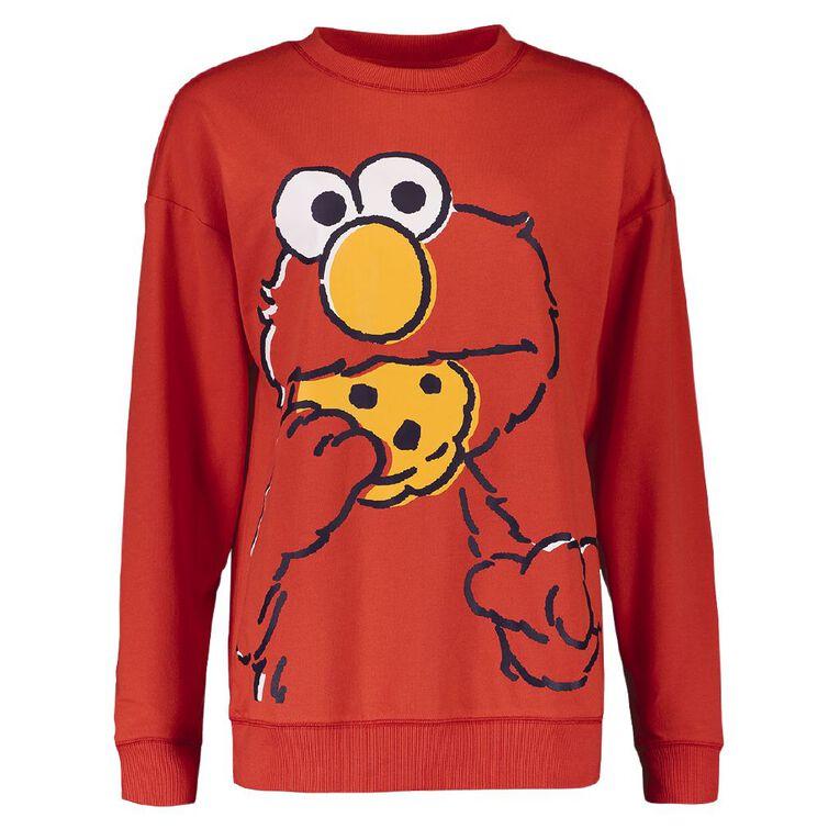 Sesame Street Elmo Women's Long Sleeves Lounge Sweatshirt, Red, hi-res