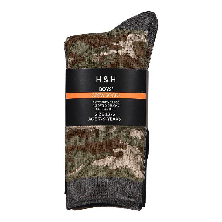 H&H Boys' Jacquard Crew Socks 5 Pack, Green Dark, hi-res image number null