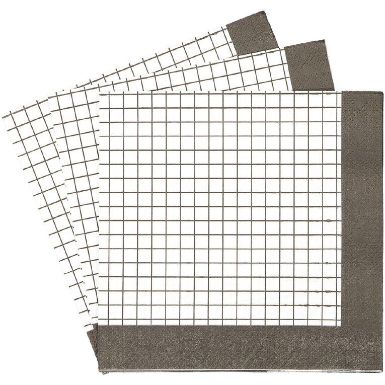 Party Inc Black & White Grid Napkins 3ply 33cm 20 Pack, , hi-res