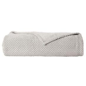 Living & Co Blanket Coral Fleece Jacquard Grey Queen