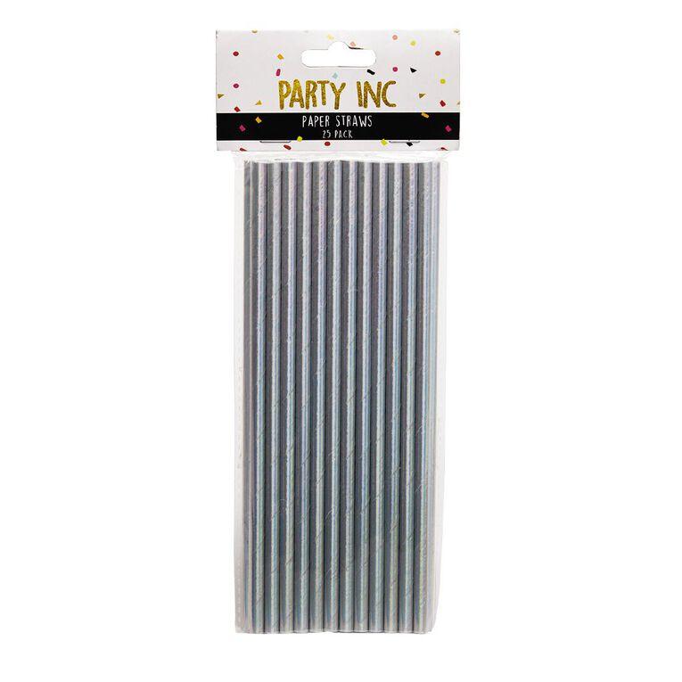 Party Inc Paper Straws Iridescent 25 Pack, , hi-res